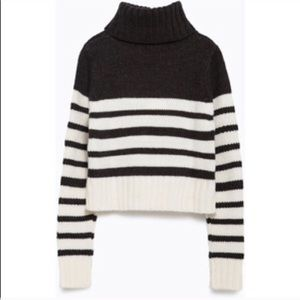 Zara cropped knit stripe turtleneck sweater